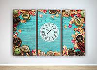 Фотокартина модульная фото картина с часами часы на кухню на холсте овощи фрукты 60х90 см