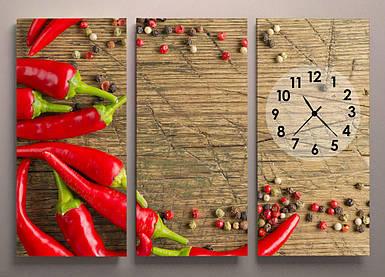 Часы настенные для кухни Перец  90х60 3 модуля