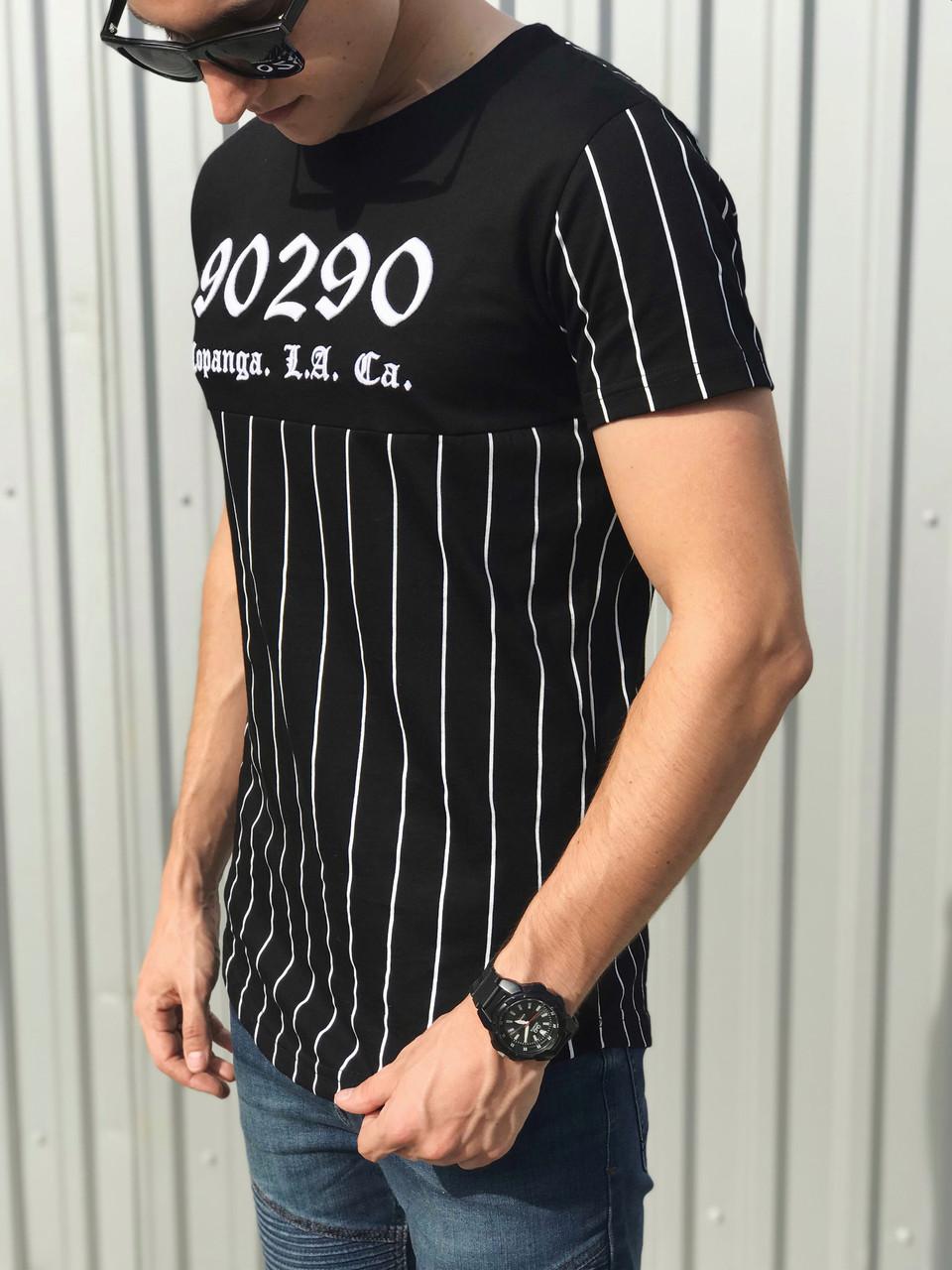Мужская черная футболка с белыми полосками Madmext 2863
