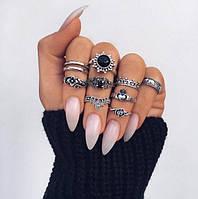 Посеребренные кольца комплект 10 штук Jinjer, фото 1