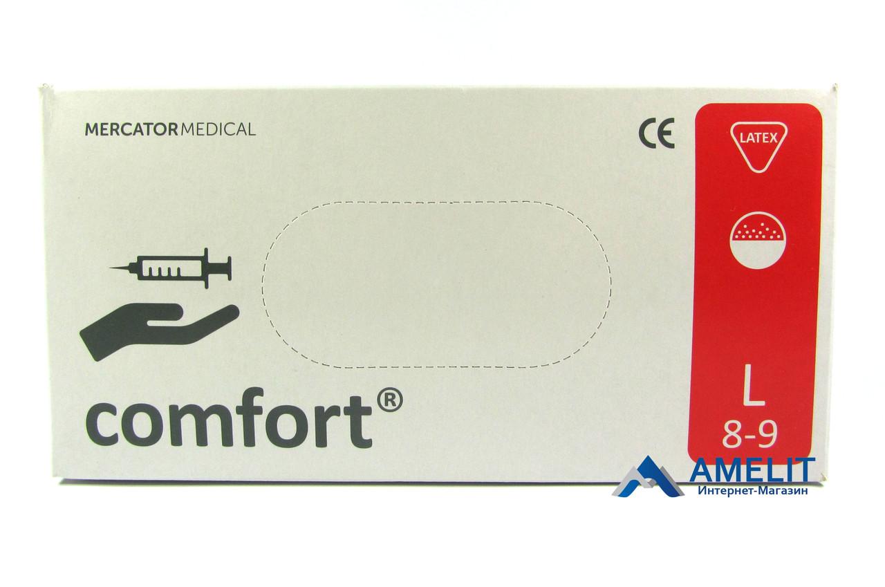 Перчатки латексные Комфорт, опудренные (Comfort, Mercator Medical), белые, размер «L», 50пар/упак.