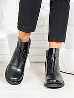 Ботинки женские кожаные - стильные женские ботинки из натуральной кожи черного цвета