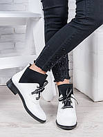 Ботинки женские кожаные Элиза белые - стильные женские ботинки из натуральной кожи