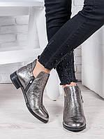 Ботинки женские кожаные графит Эллен - стильная качественная женская обувь