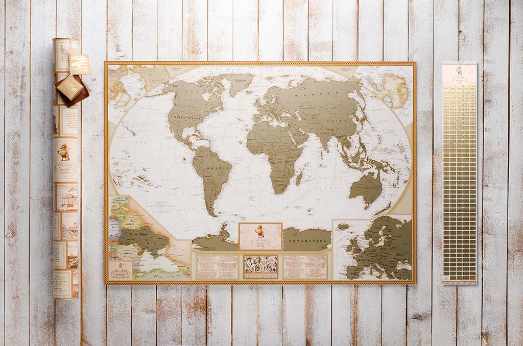 Скретч карта мира My Map Antique edition ENG в тубусе