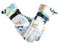 Перчатки горнолыжные женские Moon Scout размер M-L белый-голубой