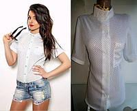 Шифоновая рубашка в горошек