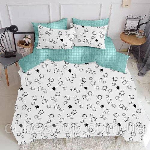 Комплект семейного постельного белья SHEEP DROP MINT (хлопок, бязь)
