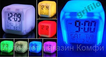 🔥✅ Светодиодные часы, c термометром будильник ночник Hello Kitty, часы хамелеон, светящиеся, CX-508