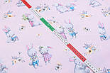 """Бязь польская """"Кролики с морковкой и книжкой"""" на розовом фоне (2394), фото 5"""