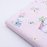 """Бязь польская """"Кролики с морковкой и книжкой"""" на розовом фоне (2394), фото 6"""