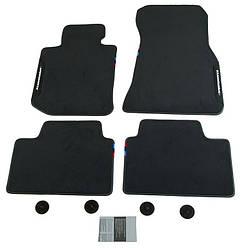 Комплект оригинальных черных велюровых ковриков BMW X7 (G07), артикул 51472457272