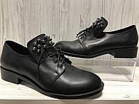 Туфли женские кожаные черные с бусинками