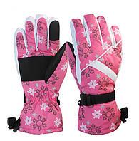 Перчатки горнолыжные женские Moon Scout размер M-L розовый-белый