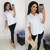 Женская белая рубашка на пуговицах