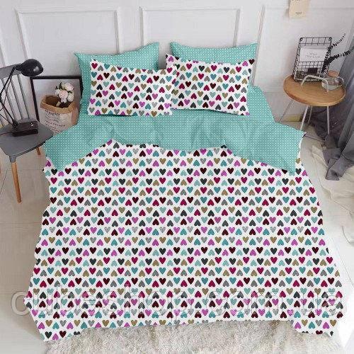 Комплект семейного постельного белья LOVE DROP MINT (хлопок, бязь)
