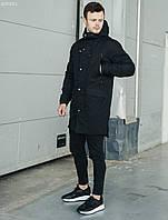 Чоловіча чорна парка/ Мужская удлиненная черная куртка, парка стафф Staff me black BZP0051