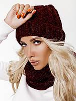 Комплект шапка и шарф-снуд, женский, бордового цвета