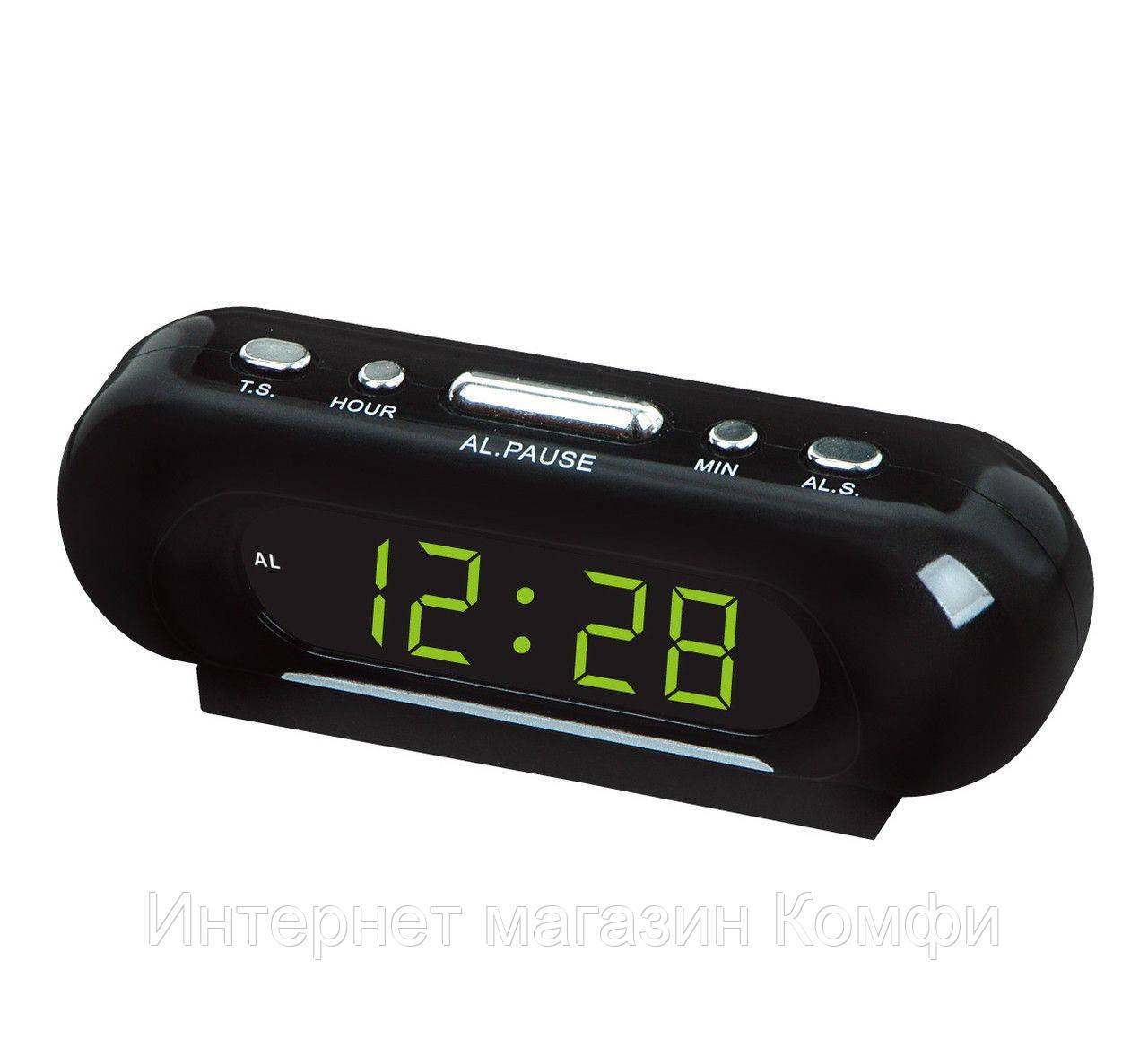🔥✅ Настольные часы VST 716 электронные с зеленой подсветкой 170*50*50 мм отсрочка сигнала будильник