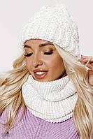 Комплект шапка и шарф-снуд, женский, белого цвета