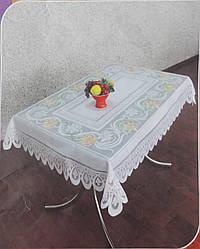 Скатерть 115*160 см белая с цветами (Ромны)