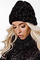Комплект шапка и шарф-снуд, женский,черного цвета