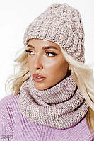 Комплект шапка и шарф-снуд, женский, цвета пудры