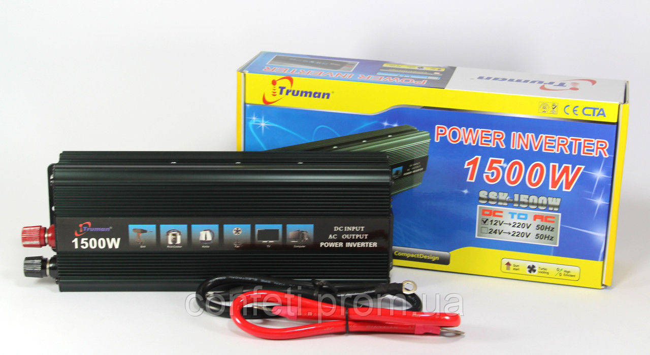 🔥✅ Автомобильный преобразователь напряжения 12V-220V 1500W авто инвертор SSK TRUMAN в коробке