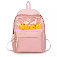 Школьный рюкзак с уточками  розовый