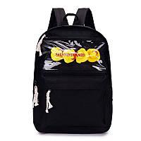 Молодёжный рюкзак с уточками чёрный с прозрачной вставкой.