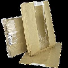 Пакет бумажный с прозрачной вставкой 310х210х50/80мм (ВхШхГхШВ) 40г/м² 100шт (62) Крафт