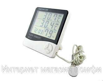 🔥✅ Термометр гигрометр HTC-2, часы с выносным датчиком