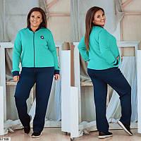 Женский спортивный костюм демисезонный трикотаж+дайвинг больших размеров 48-58, 2 цвета