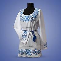 Женская туника вышиванка с голубым орнаментом