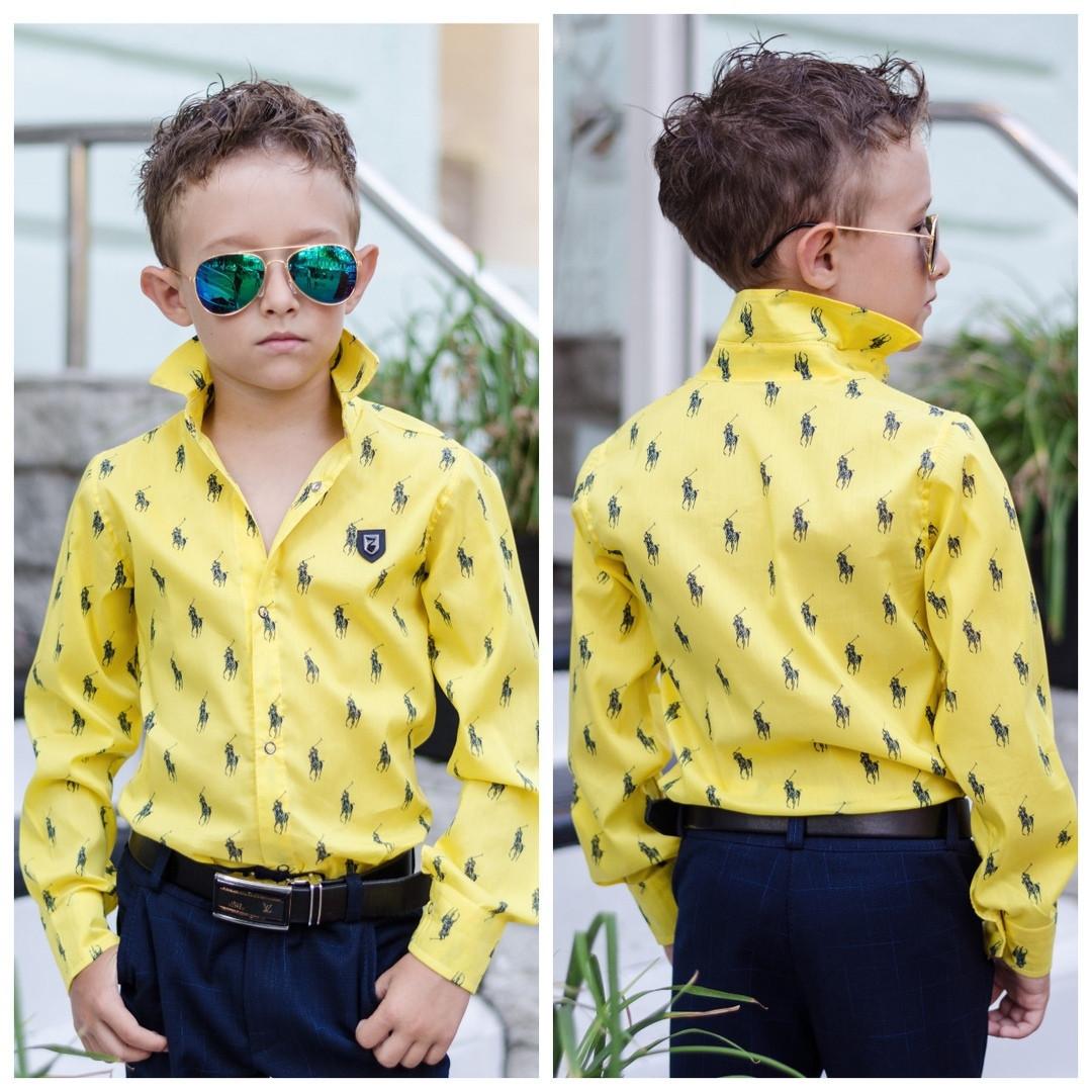 Стильная рубашка для мальчика ПОЛО (4 расцв) от116-до152рост