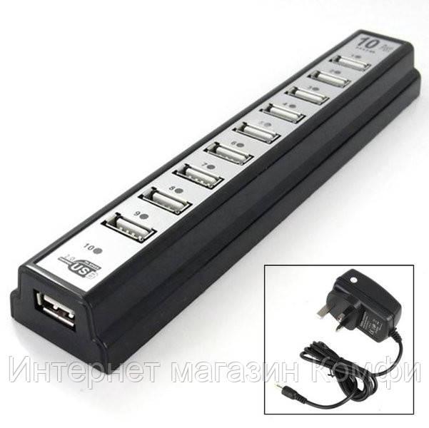 🔥✅ Хаб USB 2.0 на 10 портов + адаптер, хаб концентратор на 10 портов, usb хаб 10 портов