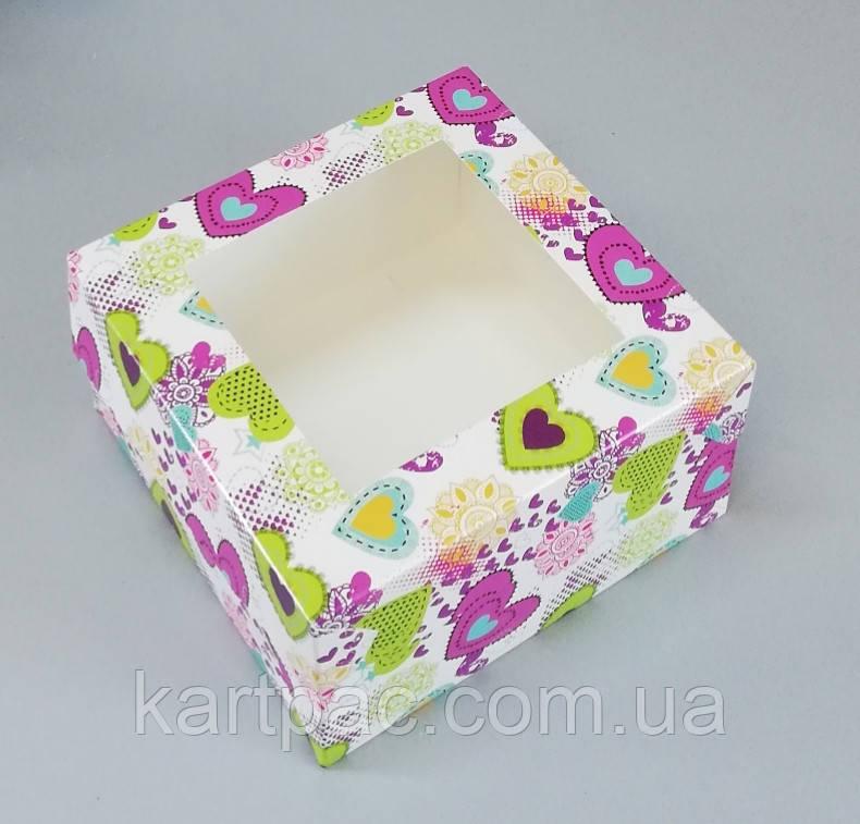 Коробка для пакування капкейків з віконцем 170*170*90