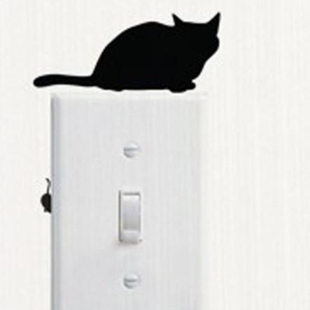 """Наклейка виниловая на стену """"Кот с мышей"""" - 14*5см"""