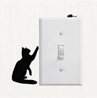 """Интерьерная виниловая наклейка """"Кот с мышей"""" - 10*7см."""