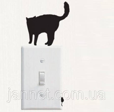 """Наклейка на стену """"Кот с мышей"""" - 9*8см"""
