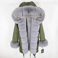 Куртка-парка с натуральным мехом лисы, S