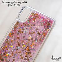 Чехол аквариум для Samsung Galaxy A10 (SM-A105) (звездочки и розовые блестки)