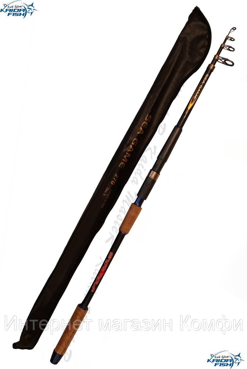 🔥✅ Телескопическое рыболовное удилище с кольцами Kaida Snow Wolf 4.5 метра