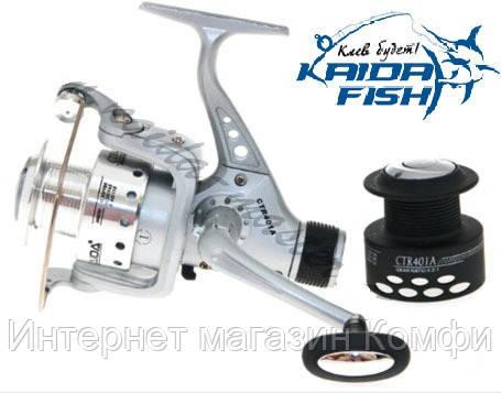 🔥✅ Рыболовная безынерционная катушка Kaida CTR-401A-1BB с передним фрикционом