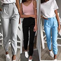 Брюки женские повседневные, с карманами, внизу на резинке, стильные, серый, чёрный, пудра, голубой, фото 1