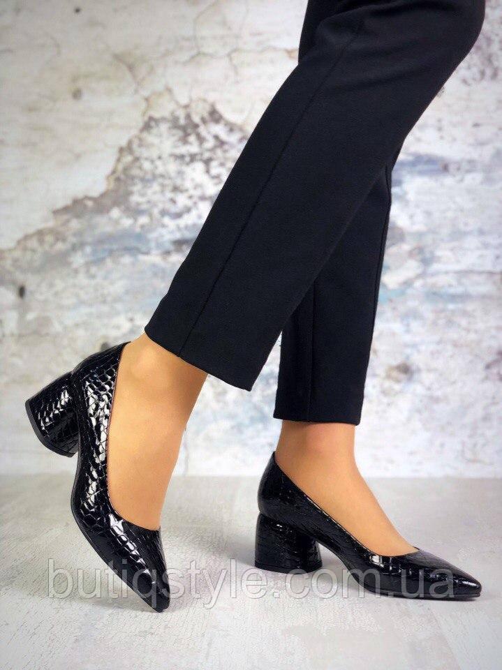 Красивые женские черные туфли натуральная лаковая кожа питон