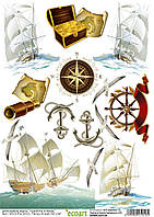 Декупажная карта 10 Корабли1 60 г/м2, А4, 210Х290 мм