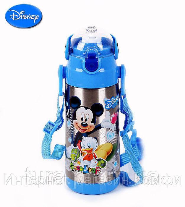🔥✅ Детский термос Микки Маус с трубочкой zk g 603 350мл Синий, Disney Mickey Mouse 350ml Blue