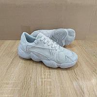 СЕРЕБРЯНЫЕ \ СЕРЫЕ  Adidas Yeezy 500  КОПИЯ  женские кроссовки Эко - замша с блестяшками