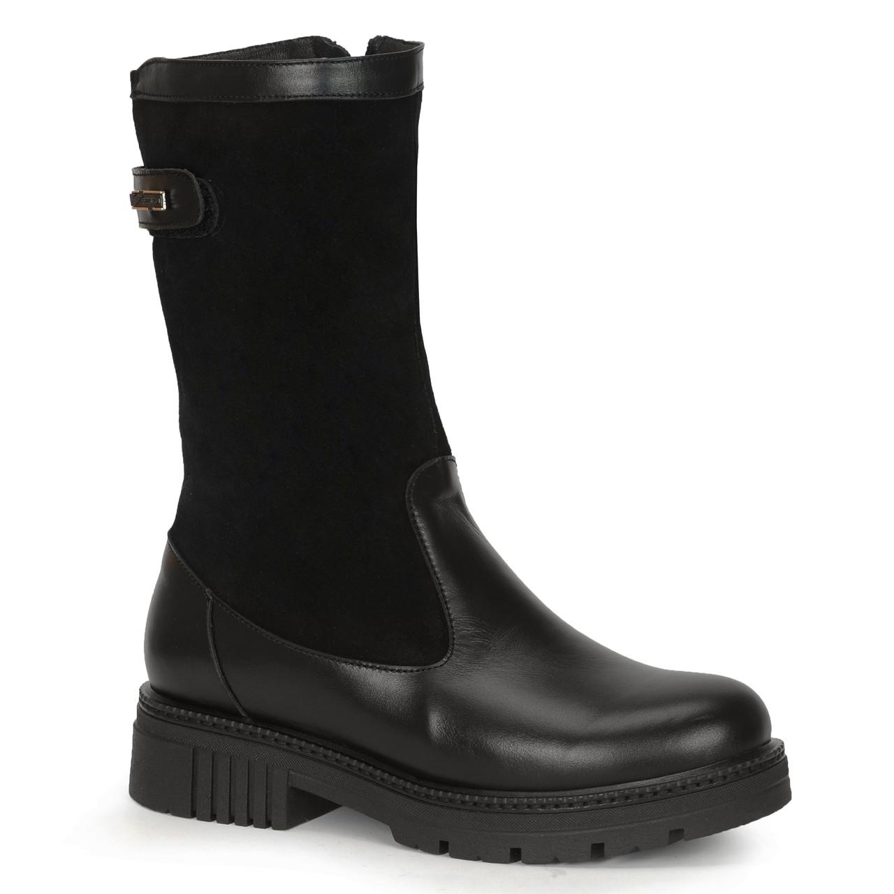 Женские кожаные замшевые ботинки полуботинки полусапоги сапоги TIFFANY на низком каблуке платформе с клапаном